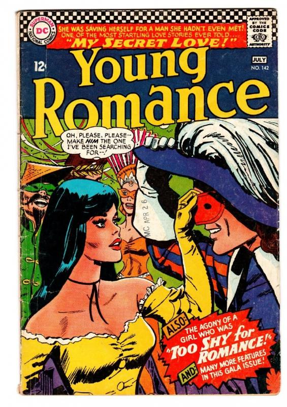 YOUNG ROMANCE #142 comic book 1966-DC ROMANCE-MASK COVER