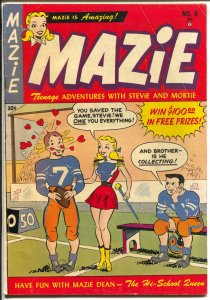 Mazzie #8 1952--football cover-spicy teen humor-headlights-pin-up poses-VG+