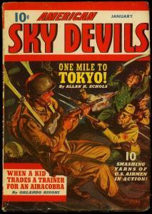 American Sky Devils Pulp #4 Jan 1942- Norman Saunders - Timely VG/F