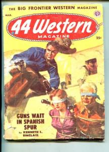 .44 WESTERN-01/1953-WESTERN PULP THRILLS-BOUND & BLINDFOLDED BABE ON COVER-good