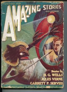AMAZING STORIES #6-09/1926-GERNSBECK-JULES VERNE-H G WELLS-FRANK R PAUL-good/vg