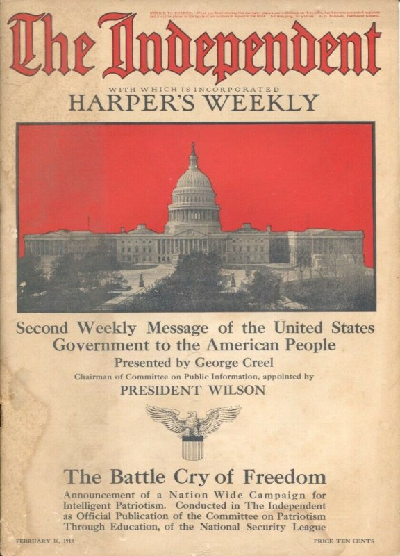 The Independent 2/16/1918-WWI issue-over 100 years old-incorporates Harper's ...