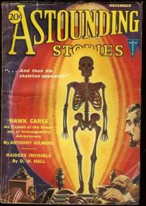 ASTOUNDING STORIES 1931 NOV-SKELETON COVER VG