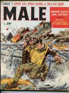 Male  2/1958-pulp-Simone Auger cheesecake-James Bama-John Leone-VG