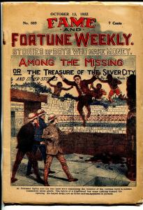 Fame & Fortune Weekly 10/13/1922-dime novel-Among The Missing-pulp-VG