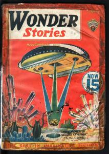 WONDER STORIES 1936 APR-FRANK R PAUL SPACESHIP COVER! FR