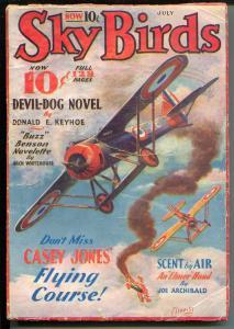 Sky Birds 7/1933-aviation pulp-Tinsley cover-Devil-Dog-Whitehouse-VG-
