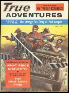 TRUE ADVENTURES JAN 1957-PAUL GAUGUIN SEX-SATANS WHEELS VF/NM