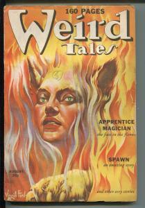 WEIRD TALES 08/1939-FINLAY COVER-ROBERT BLOCH-ROBERT E HOWARD-SPAWN-vg