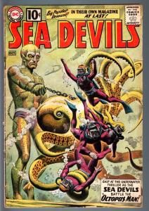 SEA DEVILS #1-DC-1961-GREY TONE COVER-RUSS HEATH INTERIOR ART-CLASSIC - Good G