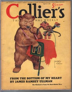 Collier's 4/27/1940-Hitler monkey cover-Lawson Woods-pre WWII era-pulp fictio...