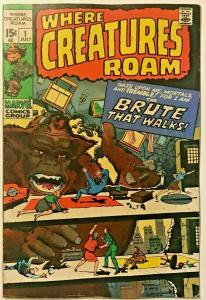 WHERE CREATURES ROAM#1 FN 1970 MARVEL SILVER AGE COMICS