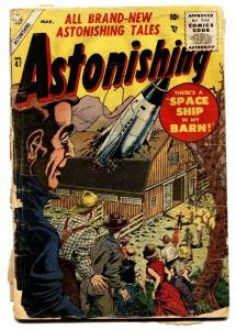 Astonishing #47 1955- Atlas horror- Rocket in a barn cover-comic book