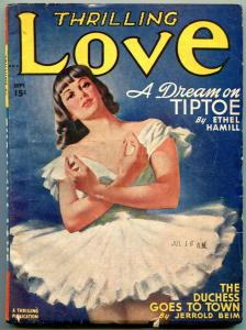 Thrilling Love Pulp September 1948- Ballerina cover- Ethel Hamill- Jerrold Beim