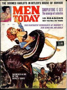 Men Today 11/1963-Entee Pubs-wild cover-bloody elephant-exploitation pulp-G