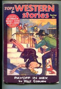 TOPS IN WESTERN STORIES-#1-SPG 1953-PULP FICTION-SOUTHERN STATES PEDIGREE-fn