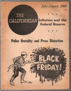 Californian 7/1960-liberal-newsprint paper mag-police brutality-rare-VG