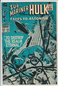 Tales to Astonish #98 (Dec-67) NM- High-Grade Incredible Hulk, Namor