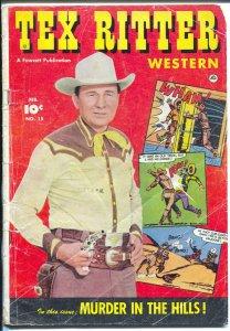 Tex Ritter Western #15 1953-movie photo cover-cowboy thrills-G