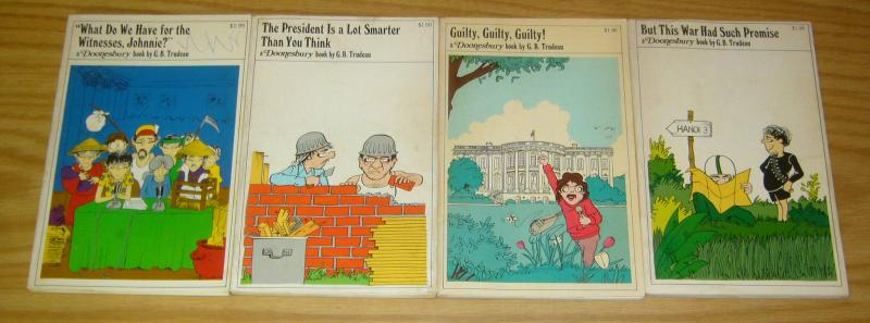 (4) Doonesbury books from the 1970s - g.b. trudeau - political comics set lot