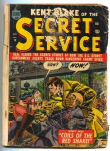 Kent Blake of The Secret Service #13 1953-Atlas- G-