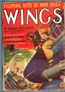 WINGS PULP-SPRING 1942-AVIATION-WWII-FICTION HOUSE! FR/G