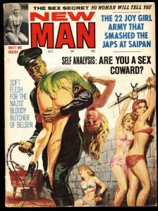 New Man Sep 1964-NORMAN SAUNDERS NAZI whipping cover-Pulp mag