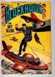 BLACKHAWK COMICS #74-FEMALE ROBOT-SCI FI WAR-AVIATION-QUALITY PUBS-1954-VG VG