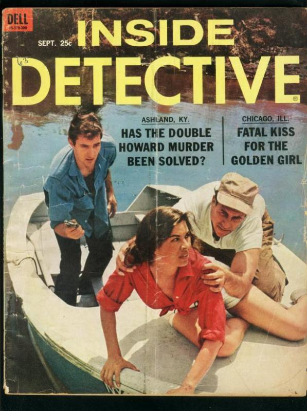 INSIDE DETECTIVE-SEPT 1963-G/VG-SPICY-MURDER-KIDNAP-RAPE-COVER BY SCOTT G/VG