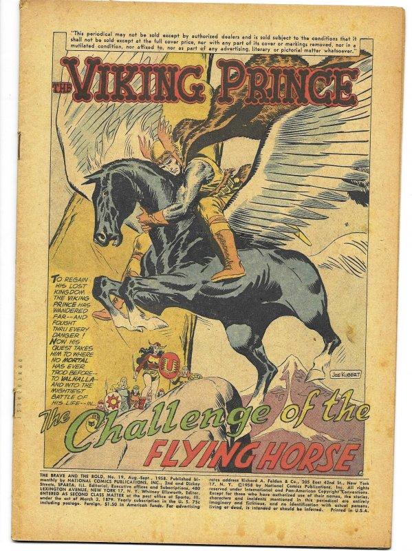 COVERLESS: Brave and the Bold #19 DC 1958 Viking Prince Story Knight Joe Kubert