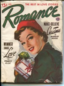 Romance 1/1950-pin-up girl cover-female pulp fiction authors-Christmas issue-VG
