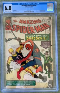 AMAZING SPIDER-MAN #16 CGC 6.0 -- O/W to WHITE P! 1ST DAREDEVIL XOVER LEE/DITKO