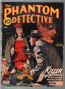 Phantom Detective-8/1945-hero pulp-Killer Portfolio-clowm nask gunman-VG
