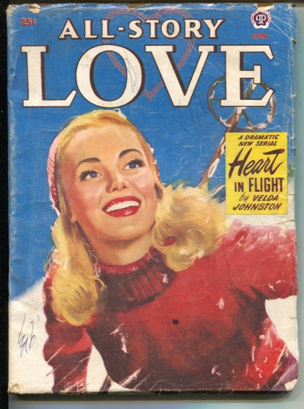 All Story Love 1/1951-pin-up girl cover-female pulp fiction authors-VG