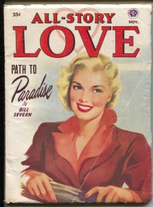 All Story Love 11/1950-pin-up girl cover-female pulp fiction authors-VG