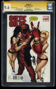 Siege #3 CGC NM+ 9.6 Deadool Campbell Variant Cover SS Signed by Stan Lee!