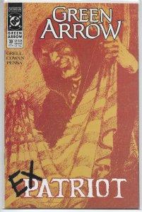 Green Arrow (vol. 2, 1987) # 39 VF Grell/Cowan, flag tearing cover