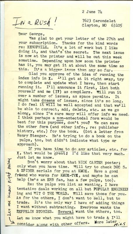 Xenophile Pulp Fanzine-Original Letter From editor Nils Hardin 6/2/1974-VG