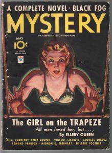 Mystery 5/1934-Tower-crime-violence-Ellery Queen-Hubert Footner-Madame Storey-VG