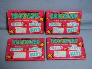 Four SEALED Packs ROCKSTARS Donruss 1979 Trading Cards QUEEN KISS VILLAGE PEOPLE