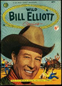Wild Bill Elliott #1 1954- British edition- Photo cover- Rare foreign western VF