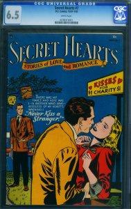 SECRET HEARTS #7 CGC 6.5 WHITE PAGES-1951-DC ROMANCE-RARE- 0238310001