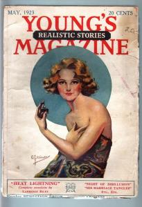 YOUNG'S REALISTIC STORIES MAY 1923-PULP-NICE COVER G/VG