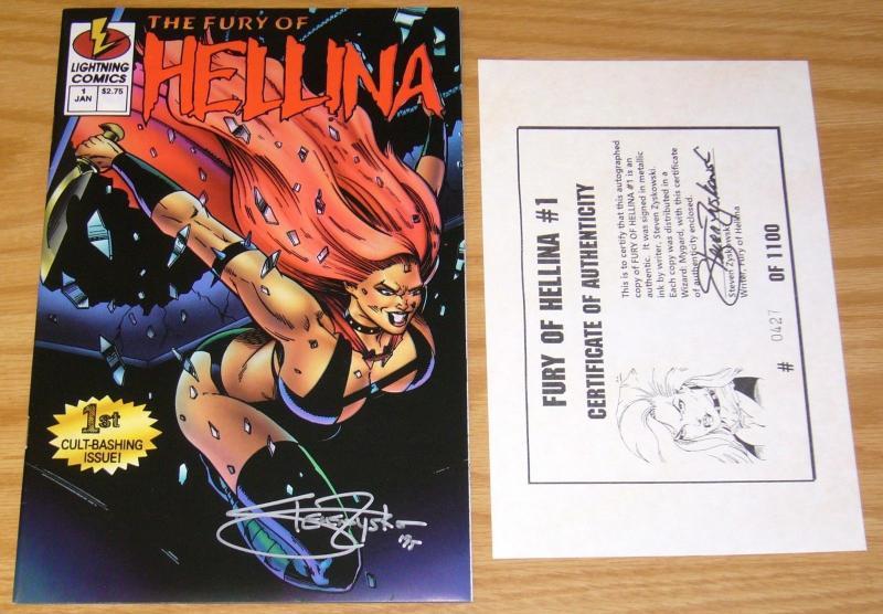 The Fury Of Hellina 1 Lightning Comics 1995 NM Signed Steven Zyskowski