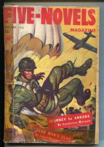 FIVE-NOVELS 12/1944-DELL-WWII-PARACHUTE COVER-PULP FICTION STORIES-good