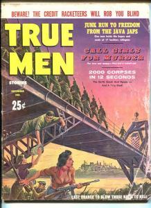 TRUE MEN-DEC 1960-NAZI-BRIDGE EXPLOSION-SPICY GOOD GIRL ART-CHEESECAKE-fr/g