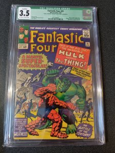 FANTASTIC FOUR #25 CGC 3.5 QUALIFIED HULK VS THE THING