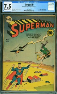 Superman #10 (DC, 1941) CGC 7.5 KEY 1st Bald Luthor - ERROR