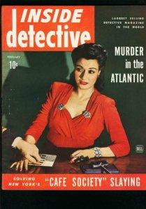 INSIDE DETECTIVE FEB 1944-ONE EYED COSSACK-TRUE CRIME-FINGERPRINT COVER FN