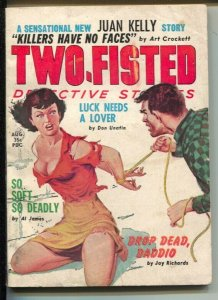 Two-Fisted Detective Stories 8/1960-Reese-violent crime stories-bondage cover...